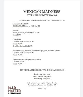 Mexican Madness Menu